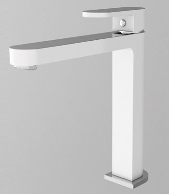 Ecco tall basin mixer white chrome