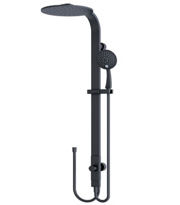 RAIN Round Shower Set Matte Black (Double Hose)