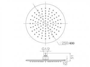 DOCCIA Round Shower Head 250mm/400mm