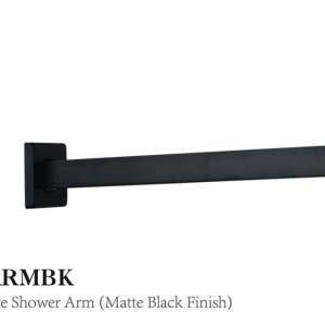 Curo Square Shower Arm (matte black finish)