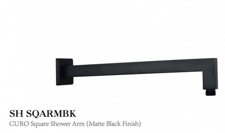 Curo Square Shower Arm (matte black finish)