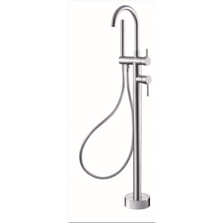 NOVA Round Floormount Mixer Curved With Handshower