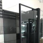 Semi-Frameless Matt Black Pivor Door Shower Screen