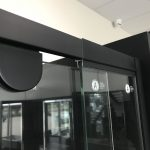 Semi-Frameless Matt Black Pivor Door Shower Screen